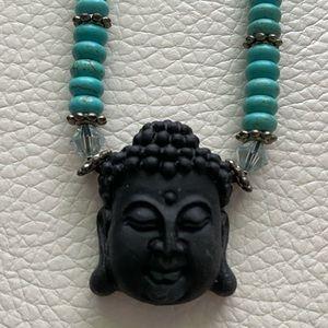 Black Buddha with Turquoise Beads
